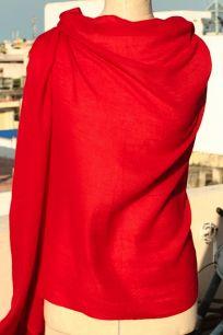 Красная кашемировая шаль, 200х100 см (под заказ)