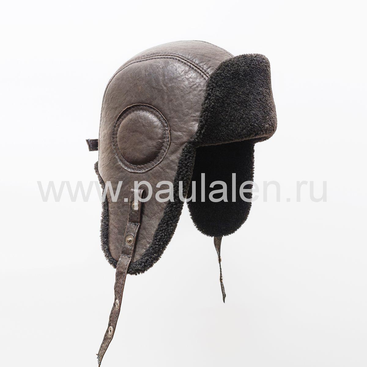 """Мужской шлем """"Авиатор"""" из кожи и овчины. Арт. B004"""