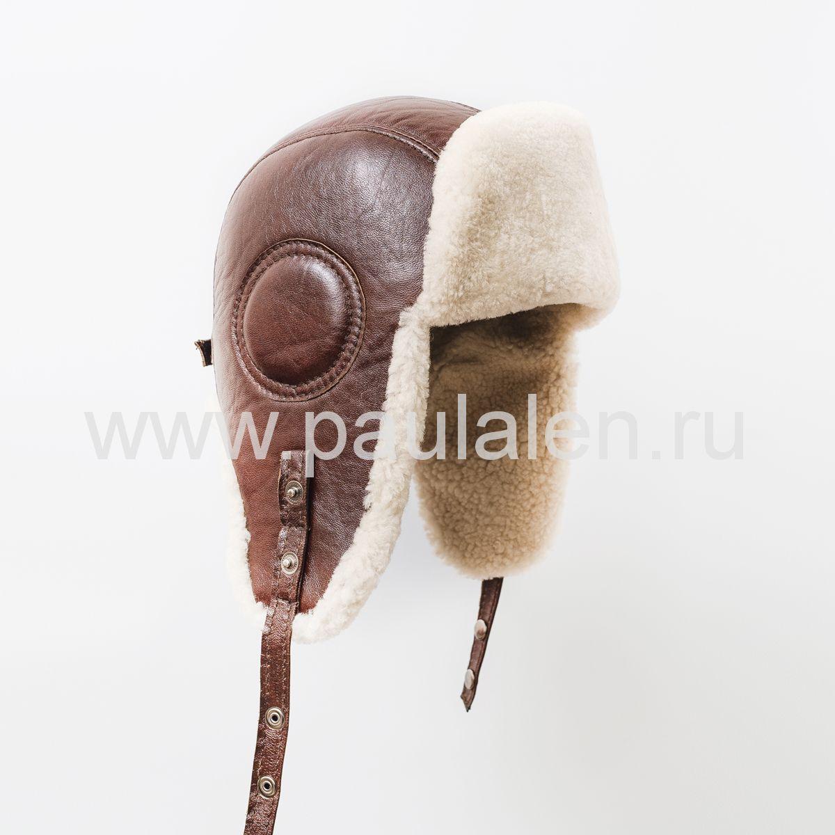 "Мужской шлем ""Авиатор"" из кожи и меха овчины. Артикул B012"