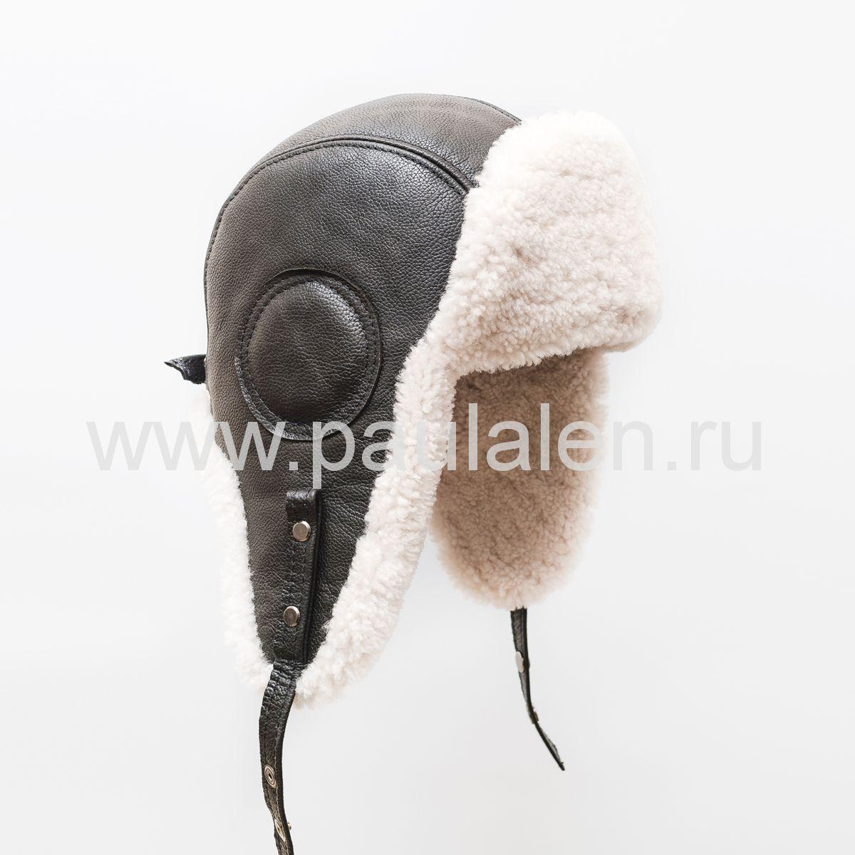 "Мужской шлем ""Авиатор"" из кожи и меха овчины. Артикул B022"
