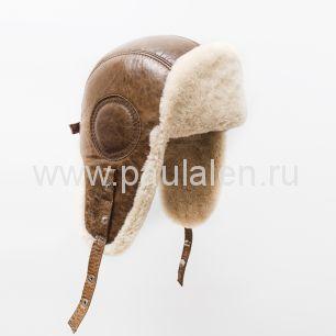 "Мужская шапка ушанка ""Авиатор"" из кожи и меха овчины. Артикул B029"