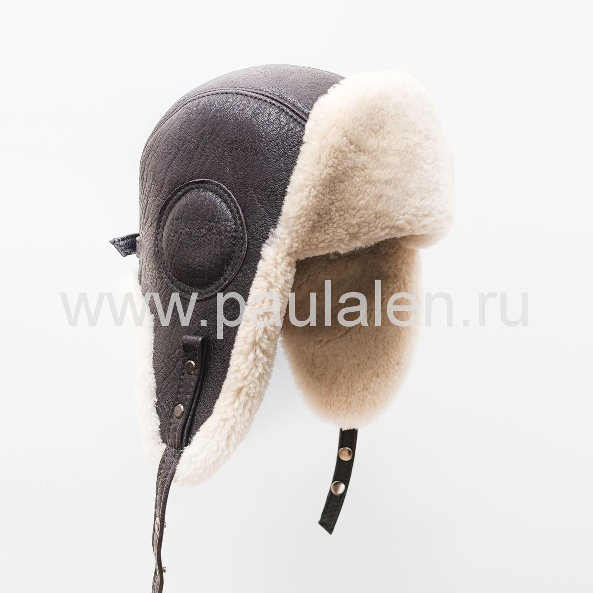 "Мужская шапка ушанка ""Авиатор"" из кожи и меха овчины. Артикул B044"