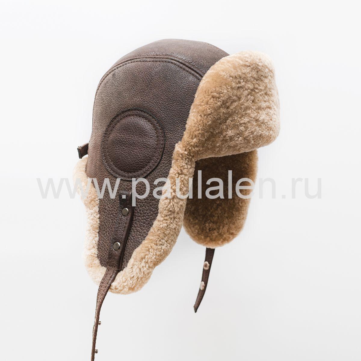 """Мужская шапка ушанка """"Авиатор"""" из кожи и меха овчины. Архив_B045"""