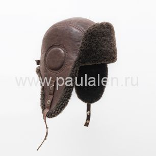 "Мужская шапка ушанка ""Авиатор"" из кожи и меха овчины. Артикул B051"