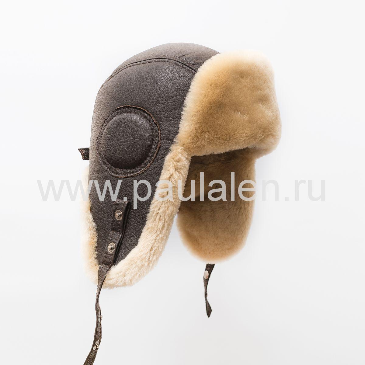 """Мужская шапка ушанка """"Авиатор"""" из оленьей кожи и овчины. Артикул B052"""