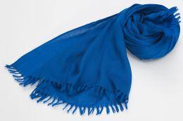 Синий палантин из шерсти с кашемиром (под заказ)