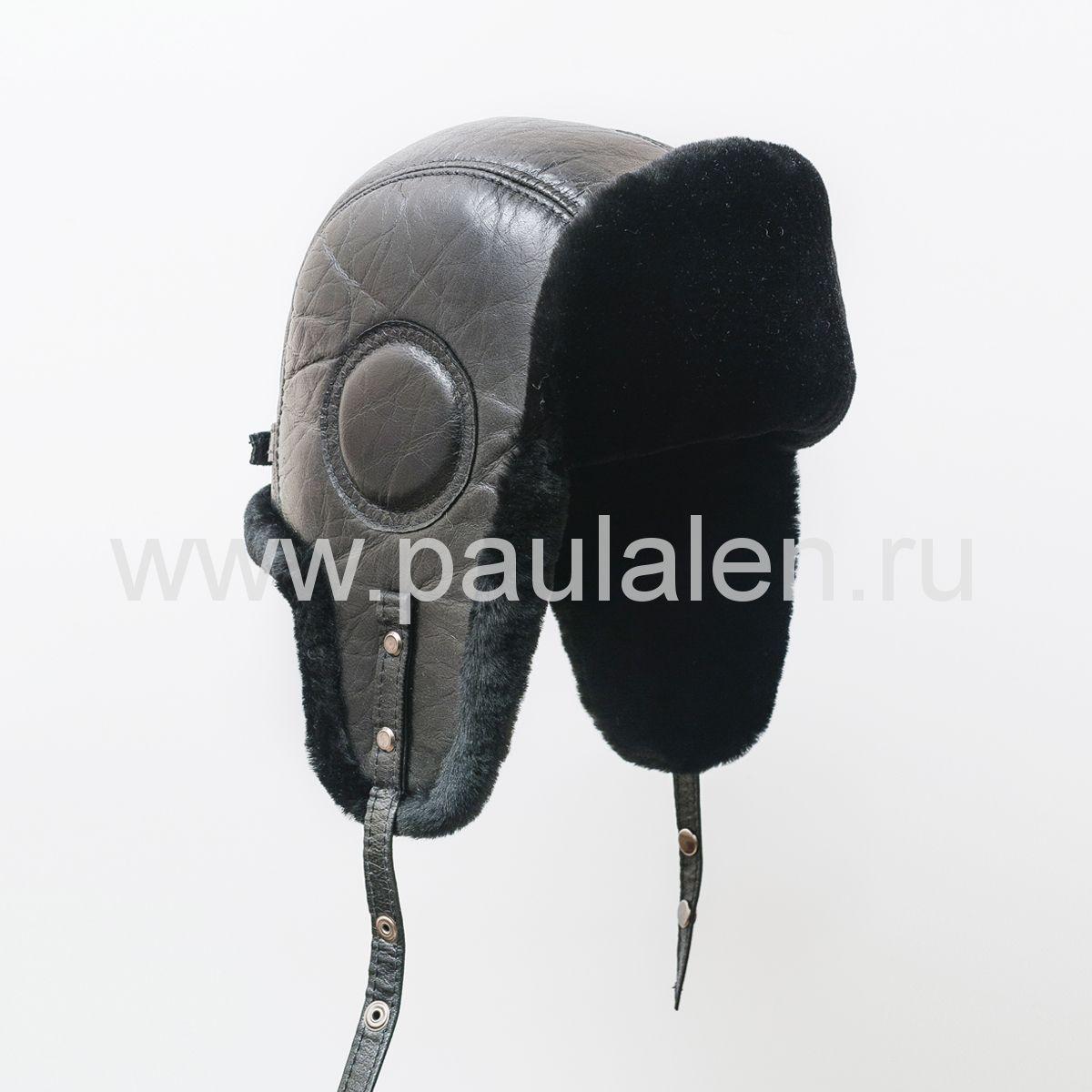 Мужской шлем Авиатор из меха овчины B040
