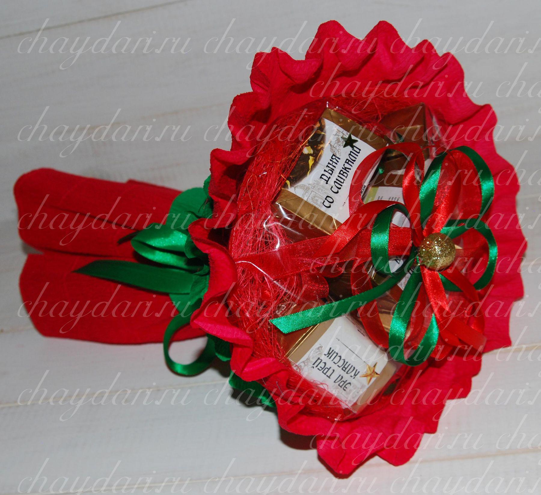 Букеты, подарки и подарочные корзины из чая, кофе, конфет своими руками 50