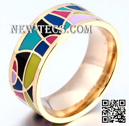 Кольцо позолоченное с эмалью