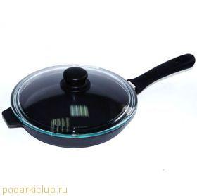 Сковорода - сотейник с крышкой чугунная Добрыня DO-3315 (24 Х 6 см) (код 25)