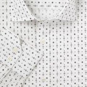 Мужская рубашка белая в черный горох T.M.Lewin приталенная Slim Fit (44674)