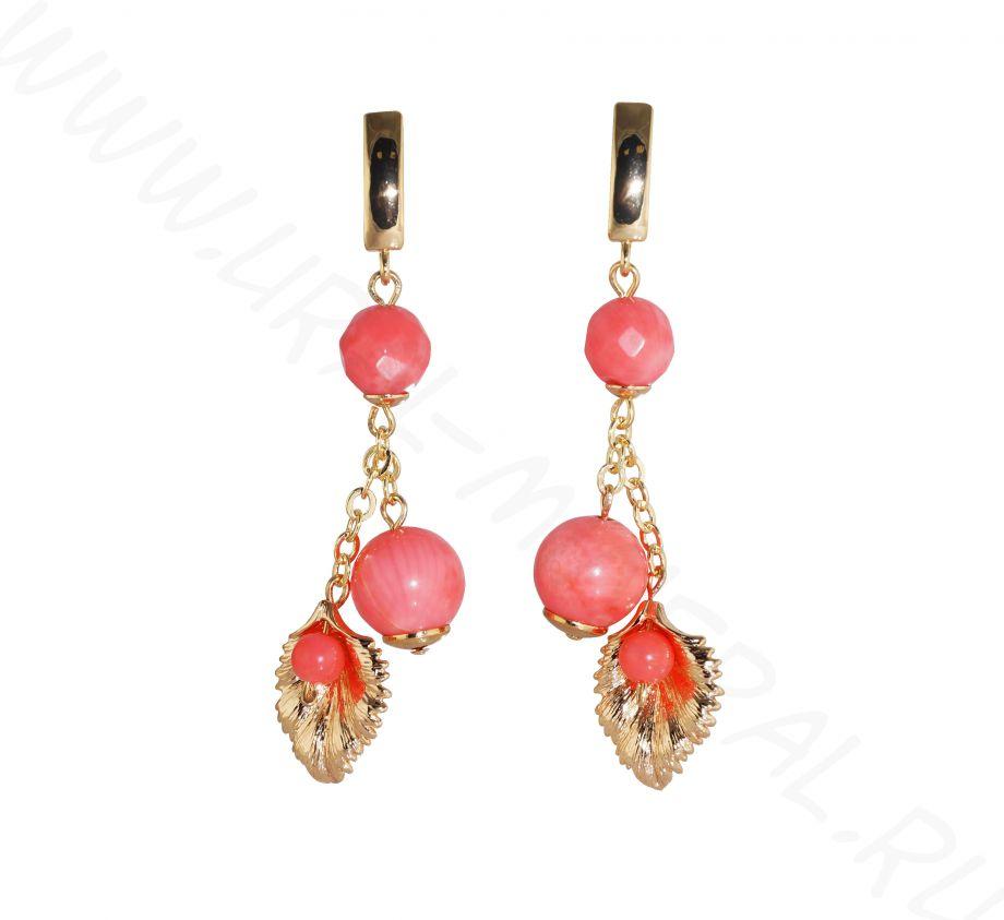 Серьги - Коралл розовый