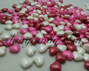 Посыпка сердечки разноцветные, глазурированные (11 мм)