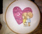 Схема для вышивки крестом Нежные иллюстрации - Сердечко. Отшив.