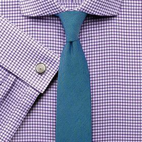Мужская рубашка под запонки белая в сиреневую клетку Charles Tyrwhitt не мнущаяся Non Iron сильно приталенная Extra Slim Fit (RG378PUR)