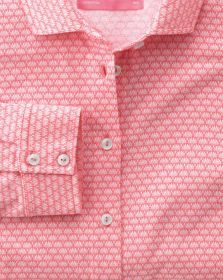 Женская рубашка красная с белым узором Charles Tyrwhitt приталенная Fitted (DR009COR)