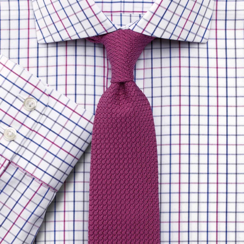 249645f593d Английская Мужская рубашка белая красно-синюю клетку Charles Tyrwhitt не  мнущаяся Non Iron приталенная Slim