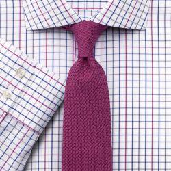 Мужская рубашка под запонки белая в красно-синюю клетку Charles Tyrwhitt не мнущаяся Non Iron приталенная Slim Fit (FK030MLT)