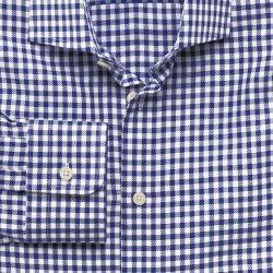 Мужская рубашка белая в клетку цвета морской волны Charles Tyrwhitt приталенная Slim Fit (FB300NAV)