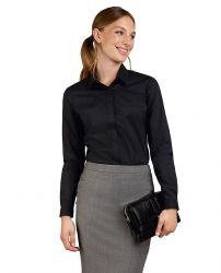Женская рубашка черная эластичная T.M.Lewin приталенная Fitted (57800)