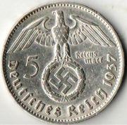 5 рейхсмарок. 1937 год. J. Третий Рейх.  Серебро.