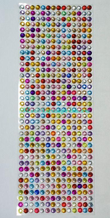 Стразы разноцветные самоклеющиеся d=5.5 мм 504 шт.уп