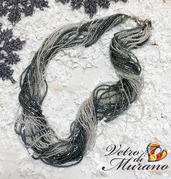 Ожерелье  из скрученного бисера цвет цвет серо-черный с серебром 30 нитей