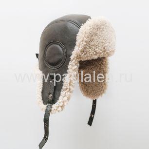 Мужской шлем Авиатор из кожи и овчины. Артикул B014