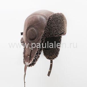"""Мужская шапка ушанка """"Авиатор"""" из кожи и меха овчины. B046"""