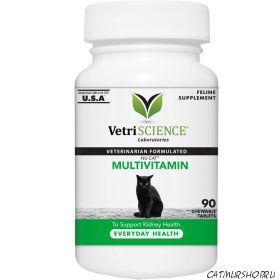 NuCat мультивитамины с кальцием, таурином, омега для кошек и котят 90 жевательных таблеток