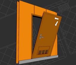 двери  типов В-15 (В-0), двери сервисные, установленные в переборку образазованные панелями B-15 (B-0)