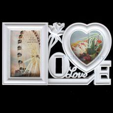 Фоторамка Love на 2 фото 09027В белая