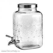 Графин стеклянный с краном для напитко