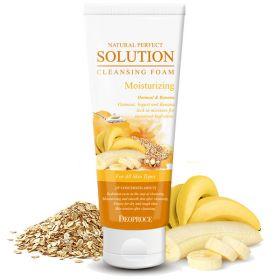 Deoproce Natural Perfect Solution Cleansing Foam Moisturizing 170g - Пенка для умывания с овсянкой и бананом
