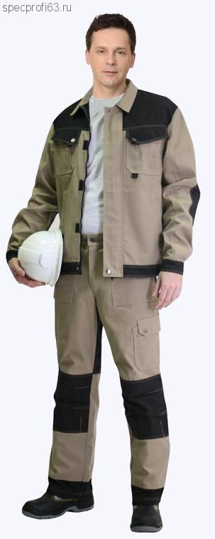 """Костюм """"ВЕСТ-ВОРК"""" летний:куртка, кор. брюки бежевый с черным"""