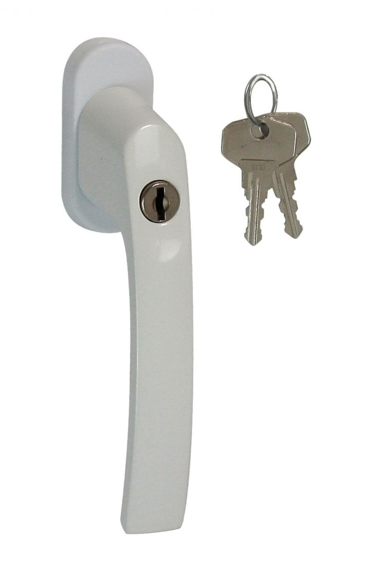 Ручка оконная с кнопкой/ключом (PLUTON) штифт 35 мм., для окон и дверей