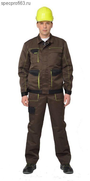 """Костюм """"ЧИКАГО"""" мужской: куртка укор.,п/комб. (т.-коричневый с черным)"""
