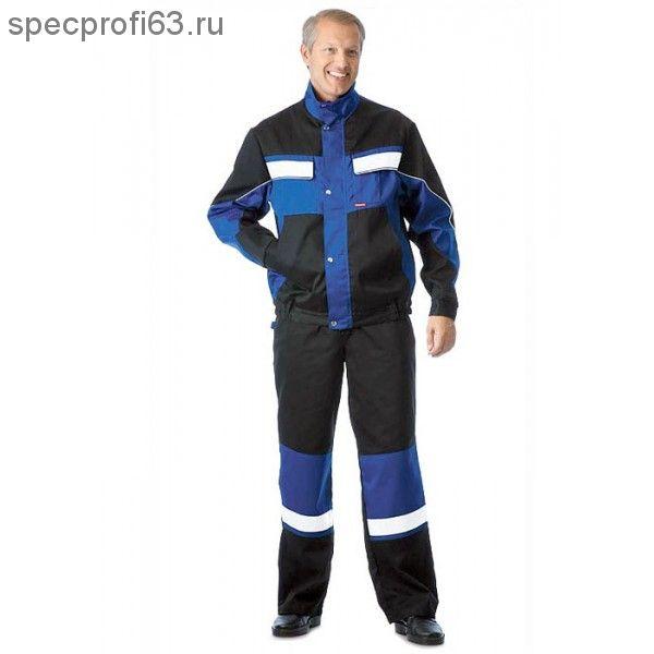 """Костюм """"ОРИОН"""": куртка, полукомбинезон чёрный с васильковым цветом"""