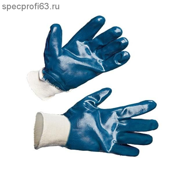 Перчатки х/б нитрил покрыт(полн) манжет мягкие, синий