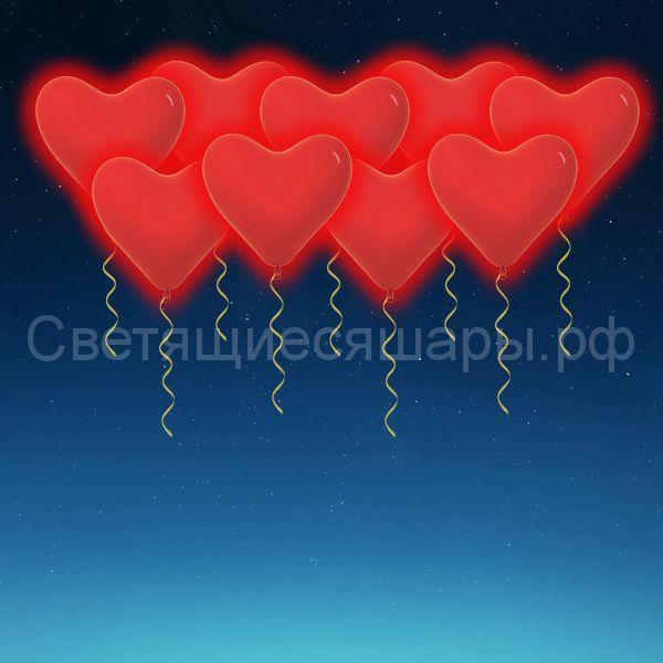 Сердце светящееся 30 см (красное)