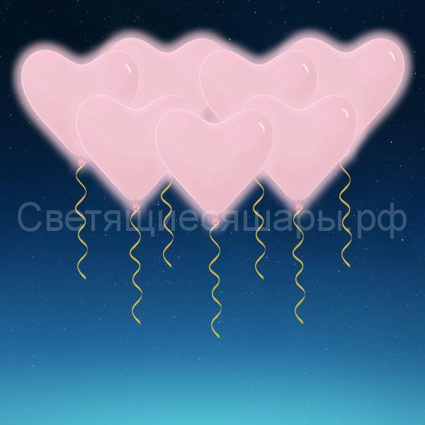 Сердце светящееся 40 см (розовое)