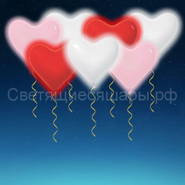 Сердца светящиеся 40 см  (ассорти)