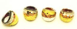 Кольцо с золотом, серебром и авентурином муранское стекло