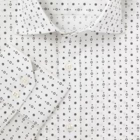 Мужская рубашка большого размера с длинным рукавом белая в черный горох T.M.Lewin приталенная Slim Fit (44674 LS)