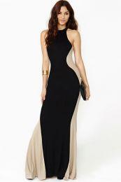 Стильное двухцветное платье в пол