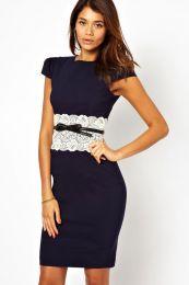 Элегантное темно-синее платье миди