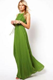 Платье в пол с плиссировкой