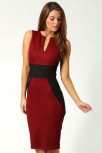 Платье футляр с контрастными вставками