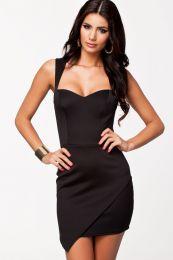 Черное облегающее мини платье