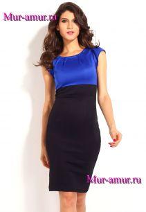 Двухцветное платье миди